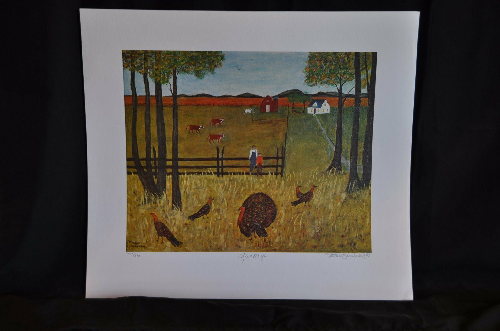 Turkeys Original Lithograph by Mother Kimbrough 453/500 Signed and Numbered