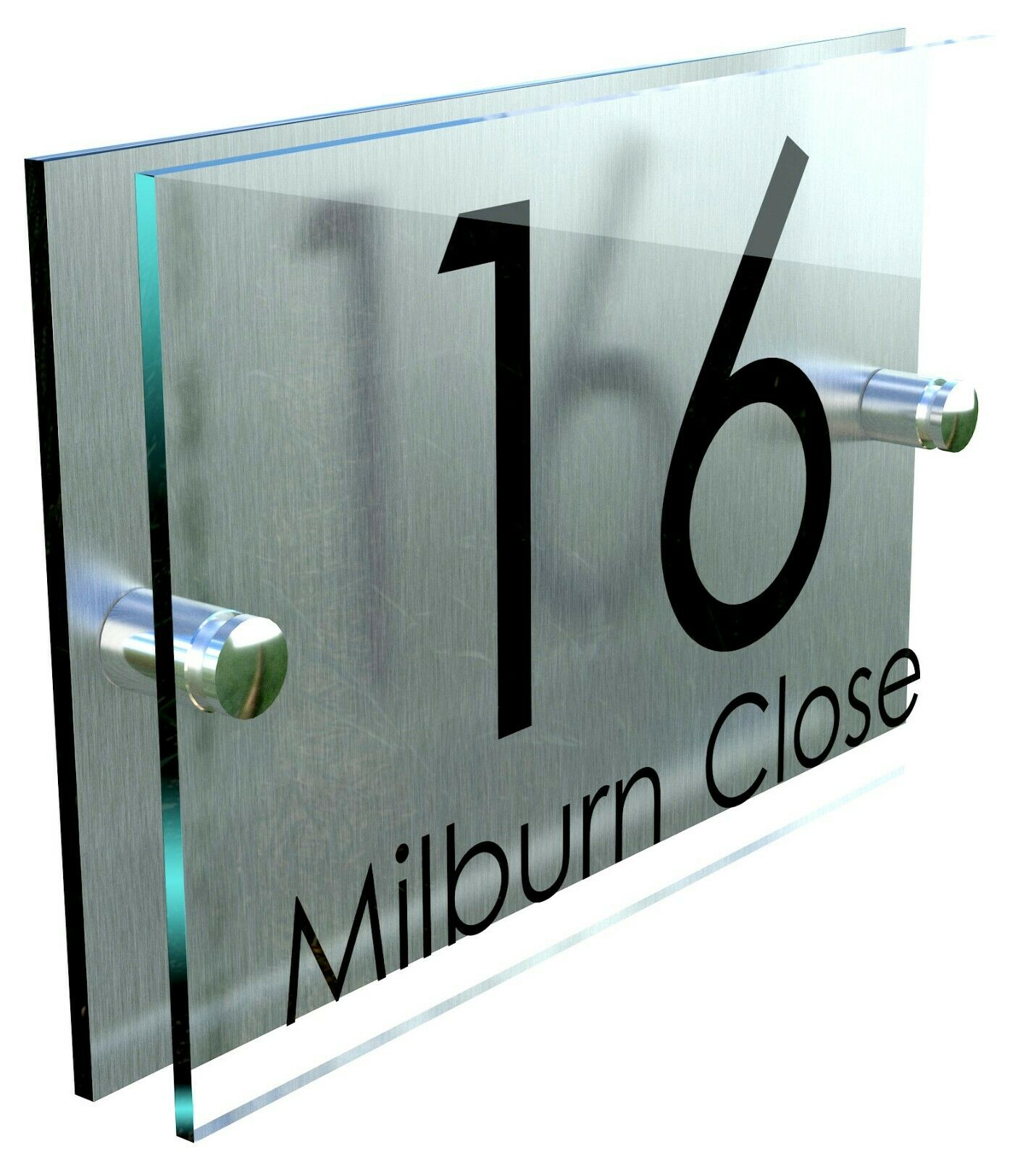 Contemporary house sign plaque door number glass for Modern house number plaques