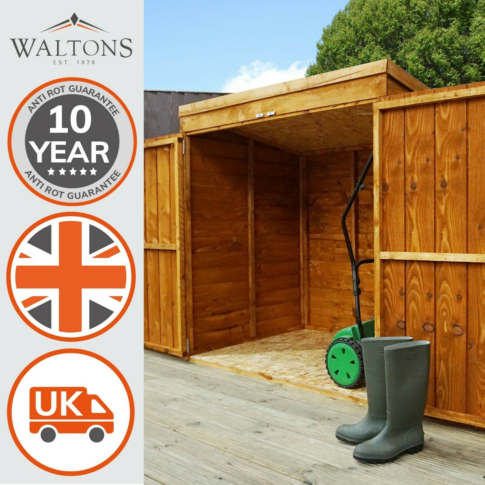 5x3 overlap wooden garden shed double doors pent roof for Garden shed 5x3