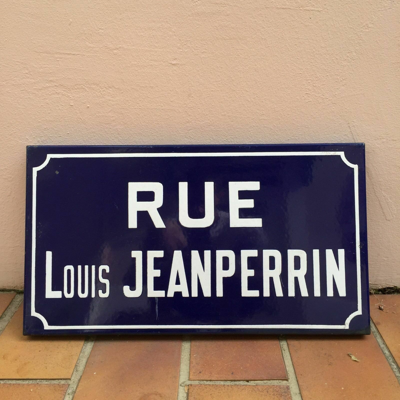 Old French Street Enameled Sign Plaque - vintage rare Montbéliard - jeanperrin