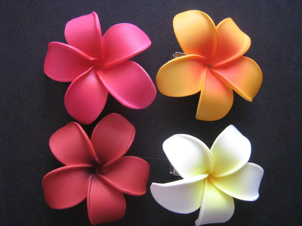 Hawaiian Plumeria Flower Foam Hair Clips Red Pink White Wedding