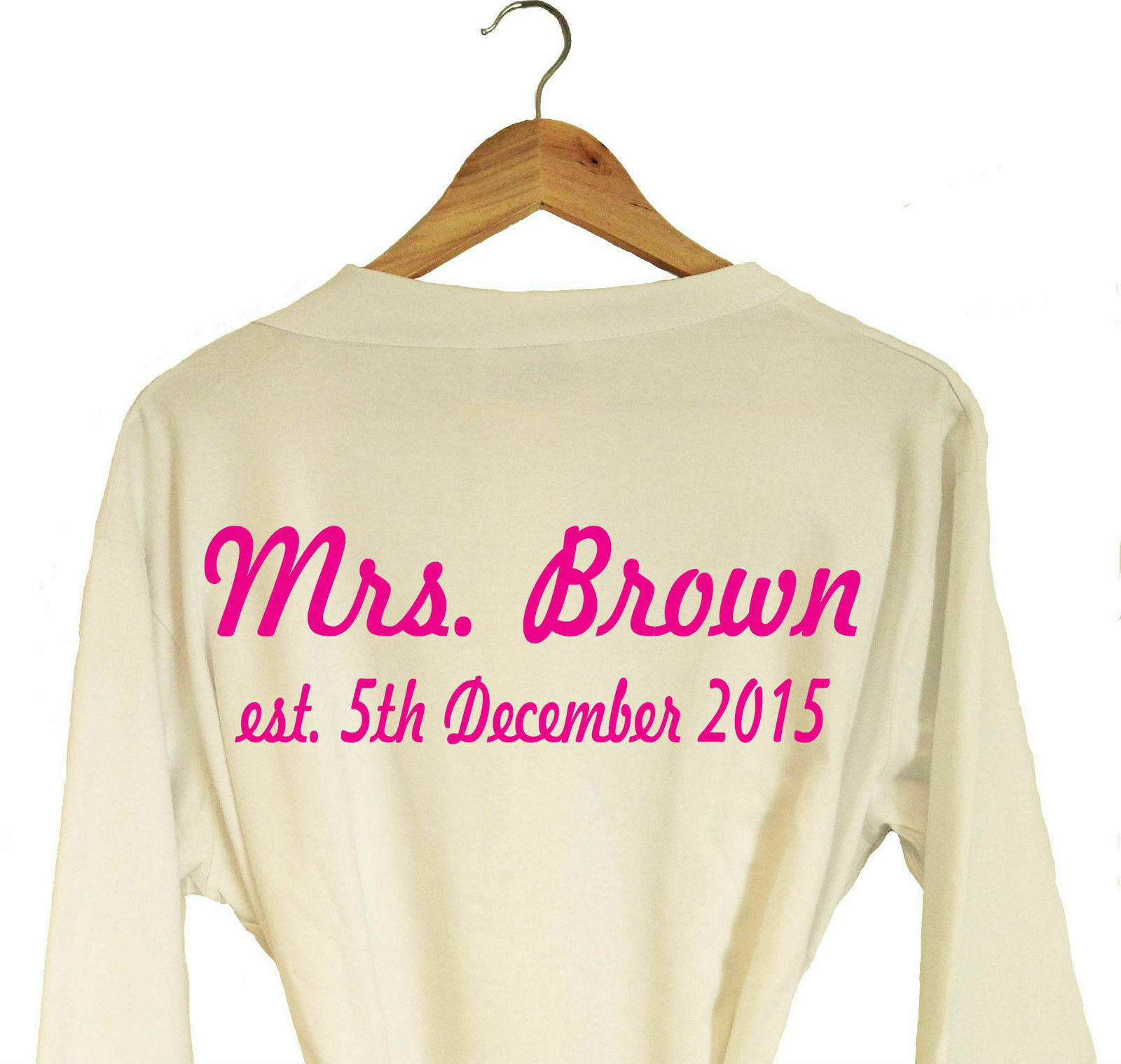 PERSONALISED WEDDING DRESSING Gown Bath Robe Gift Bride To Be ...