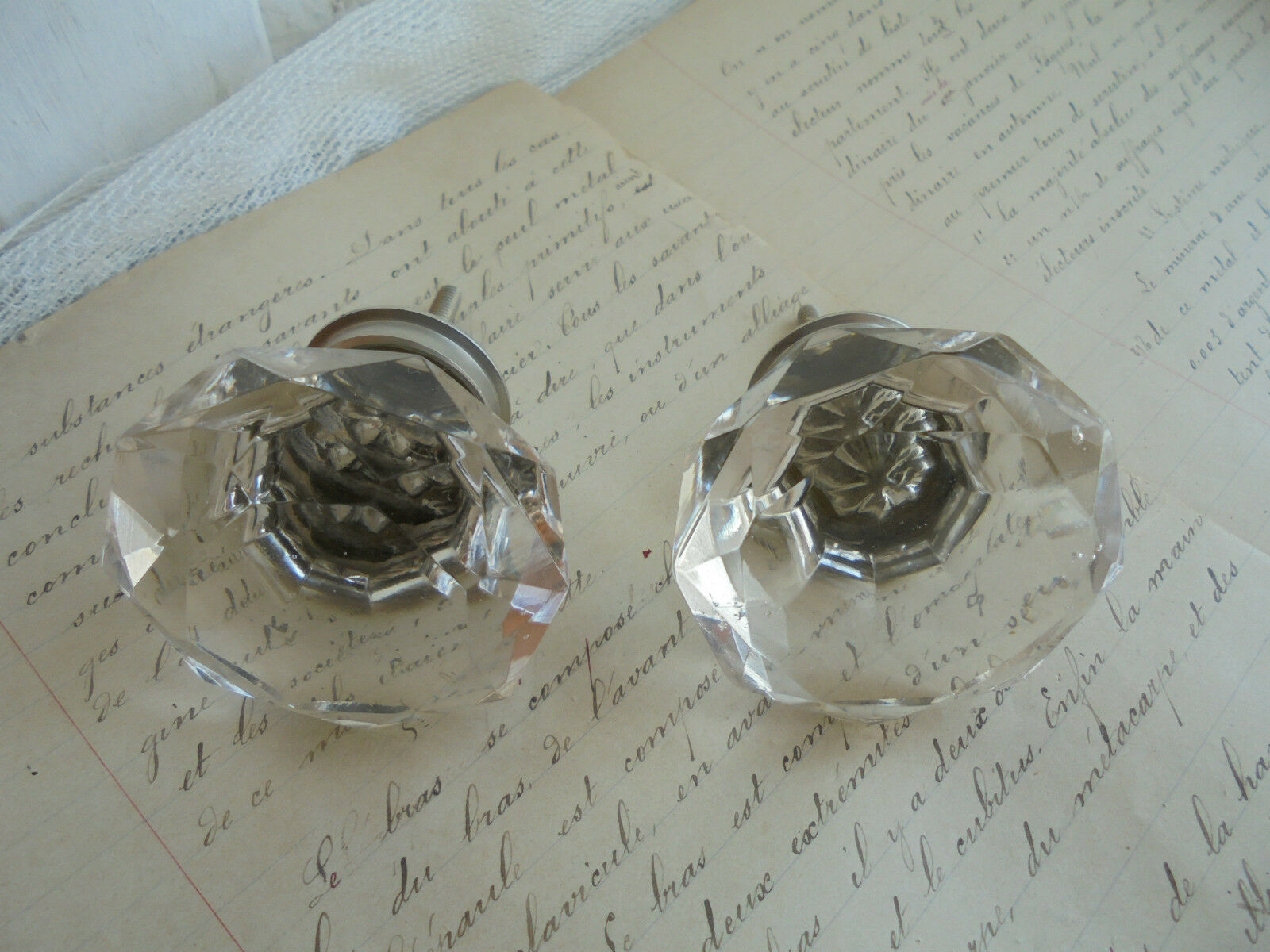 French set of 2 vintage crystal door cabinet furniture knobs project gorgeous