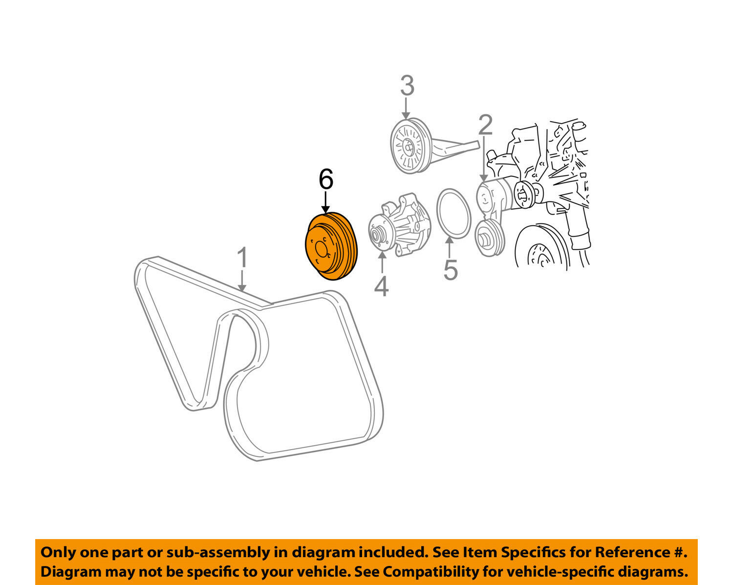 Ford Oem 99 00 Mustang 46l V8 Water Pump Pulley Xr3z8509ea 4 6l Engine Diagram 1 Of 2only Available