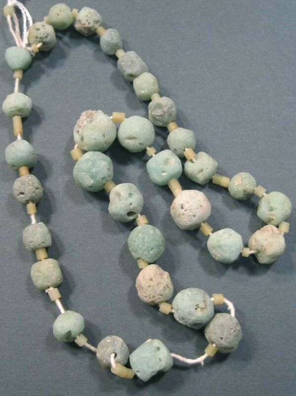 INDUS VALLEY AMAZONITE AND GLASS BEAD NECKLACE #x5147.