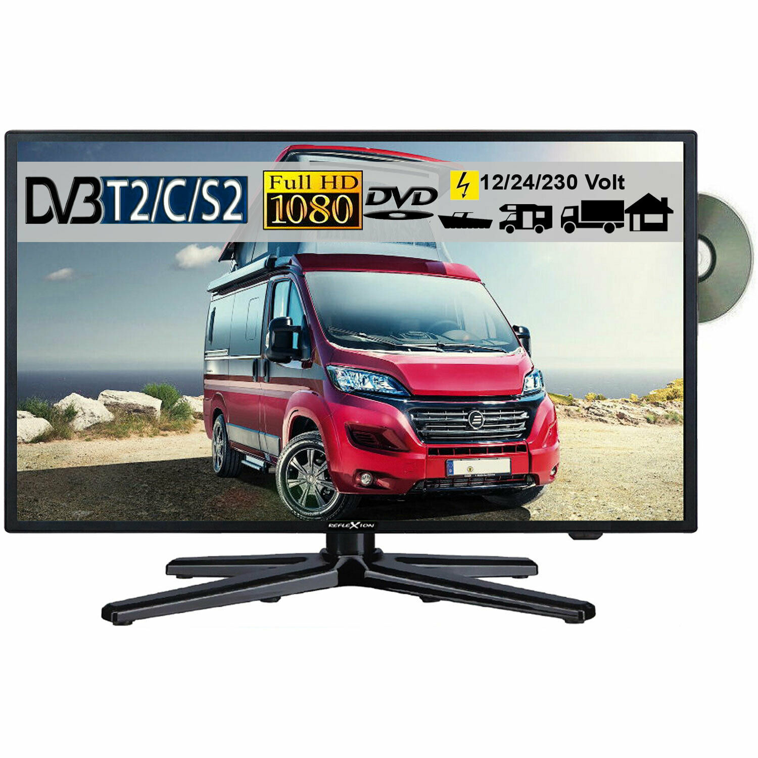 reflexion lddw22 led fernseher 21 6 zoll 56cm sat tv dvb s2 c t2 dvd 12 230v eur 249 50. Black Bedroom Furniture Sets. Home Design Ideas