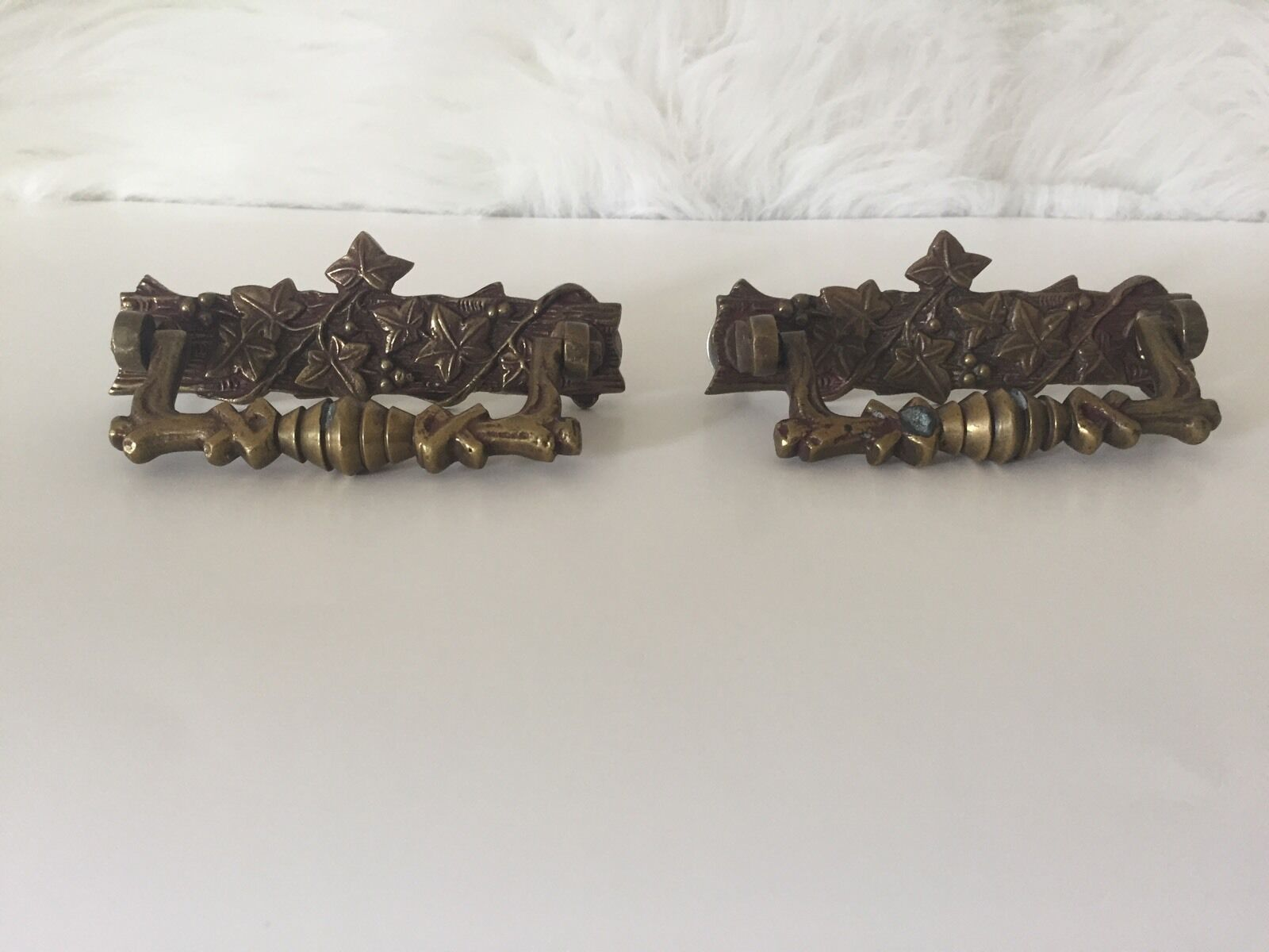 (2) VTG Brass Ivy Drawer Pulls Handles ORNATE Cupboard Pull Drop  4.5 x 1 Patina