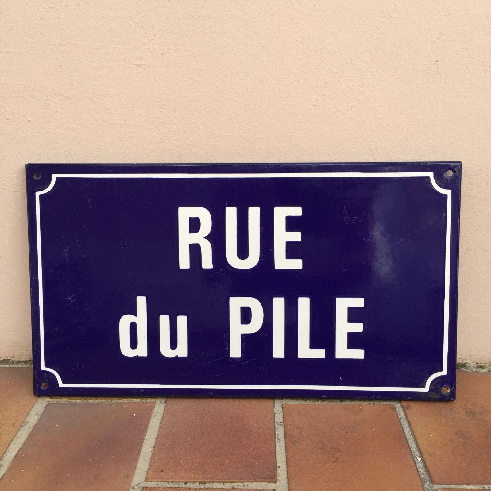 Old French Street Enameled Sign Plaque - vintage PILE