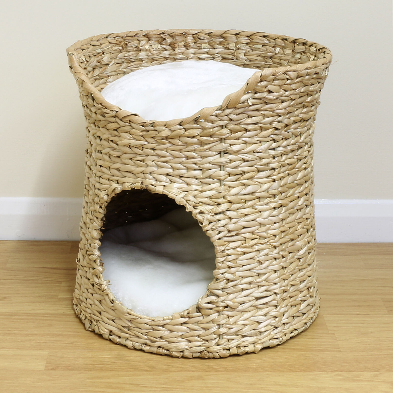 How To Weave A Cat Basket : Double cat kitten puppy bed natural woven seagrass twin