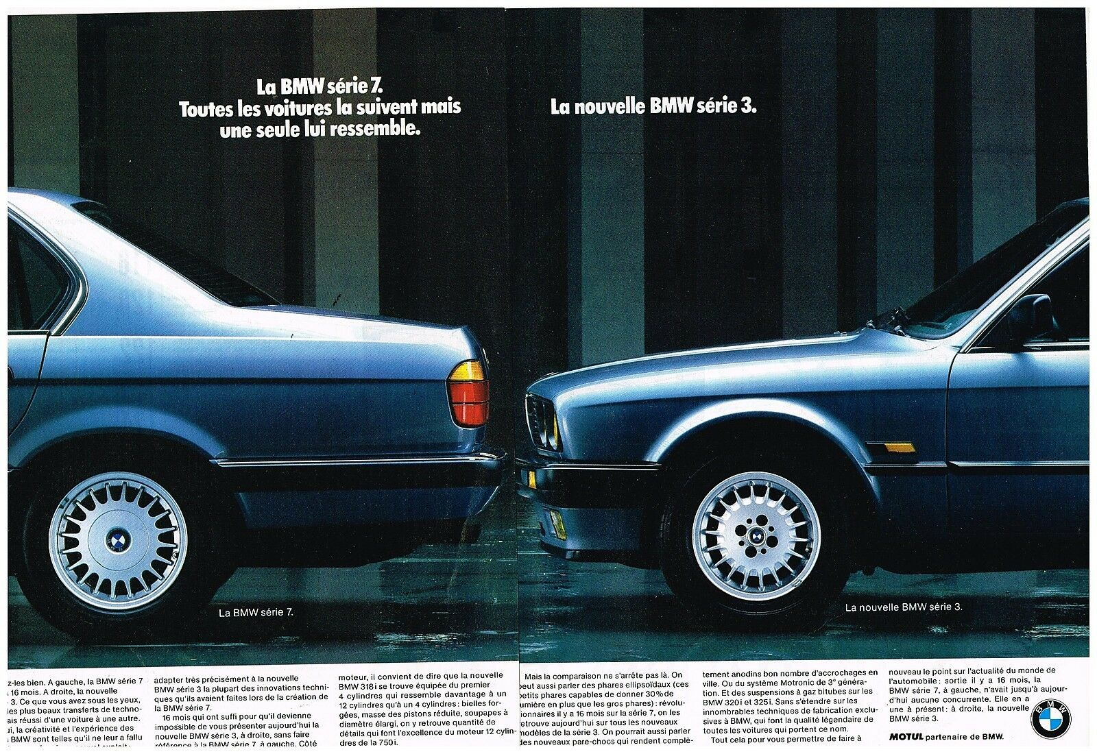 publicit advertising 1988 2 pages bmw serie 3 et serie 7 eur 5 00 picclick fr. Black Bedroom Furniture Sets. Home Design Ideas