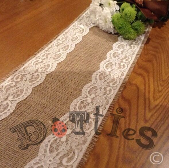 12ft bespoke lovely rustic hessian and lace narrow table for 12 ft table runner