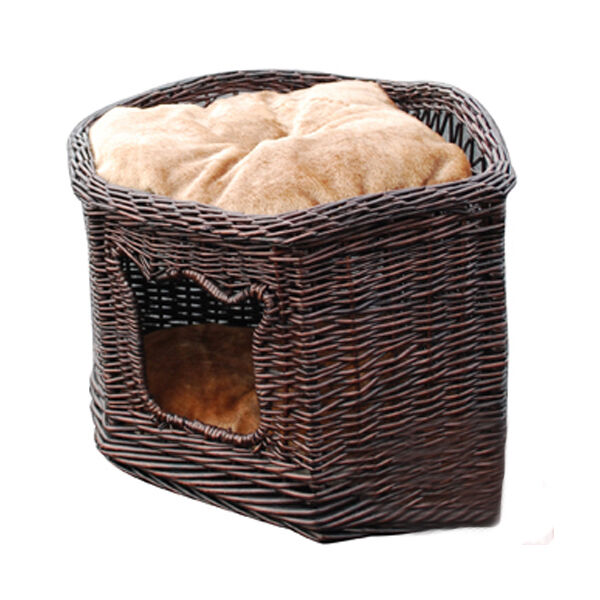 Handmade 2Tiers willow Wicker pet basket 4 cat,dog,cushion,suitable wall corner