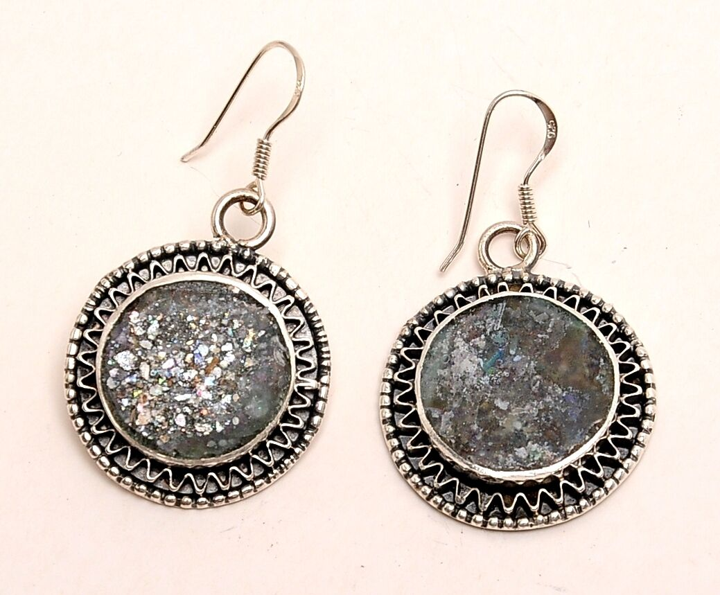 Roman Glass Earrings Authentic & Luxurious With Certificate Sterling Silver 925