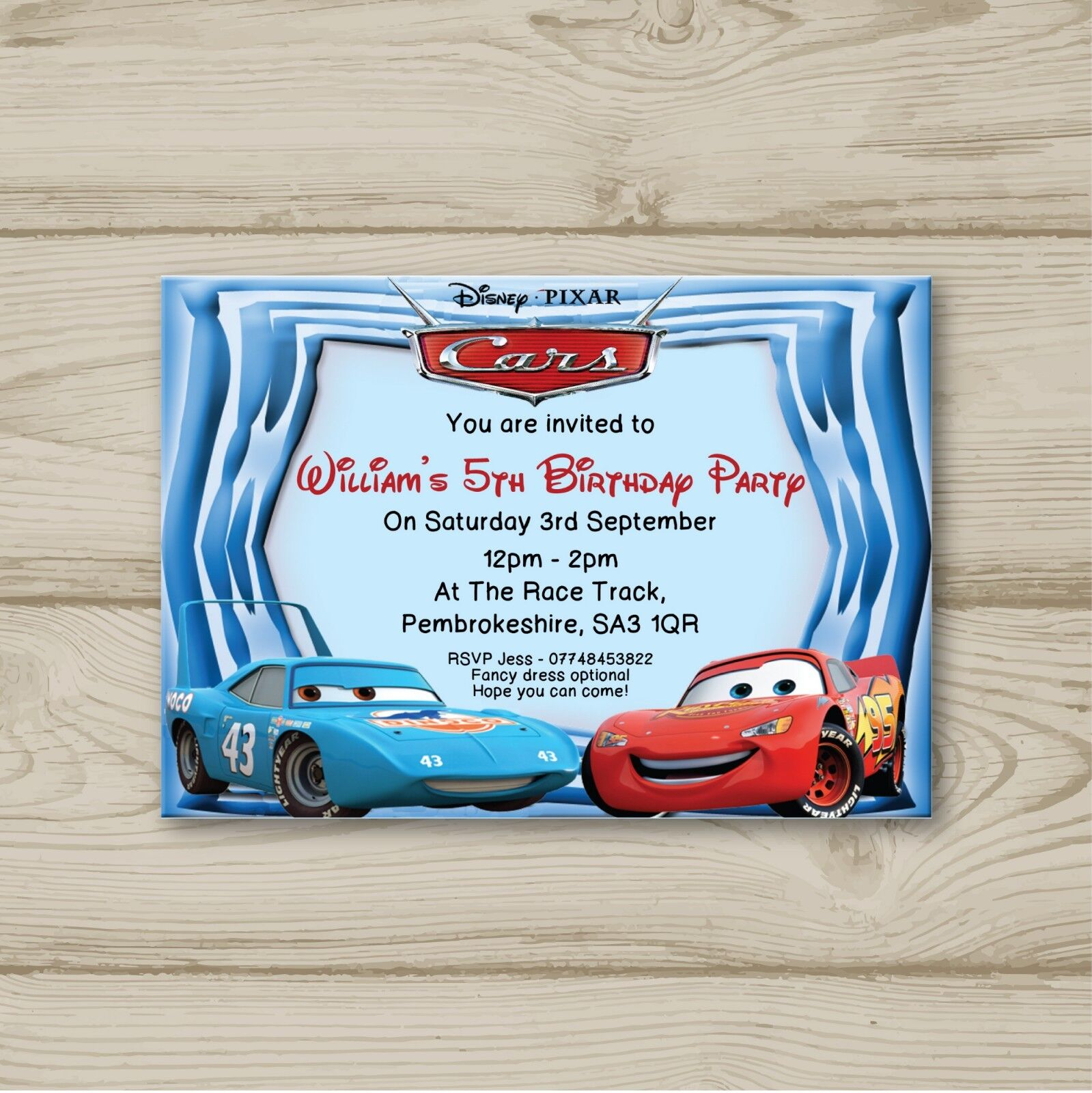 Disney Cars Lightning McQueen Birthday Party Invitations Personalised 1 Of 2FREE Shipping