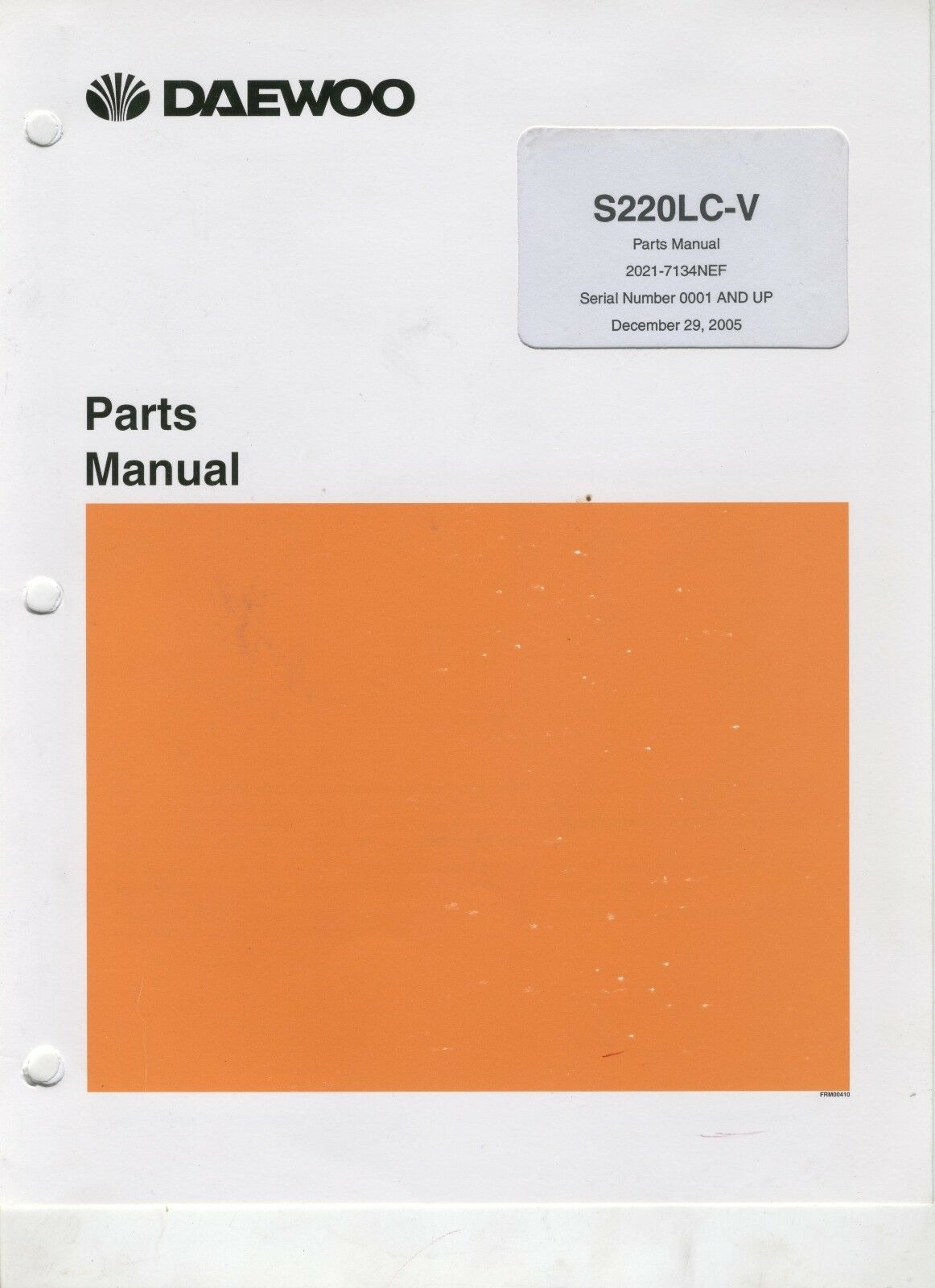 Daewoo Hydraulic Excavator Parts Manual - S220LC-V 1 of 4Only 1 available  ...
