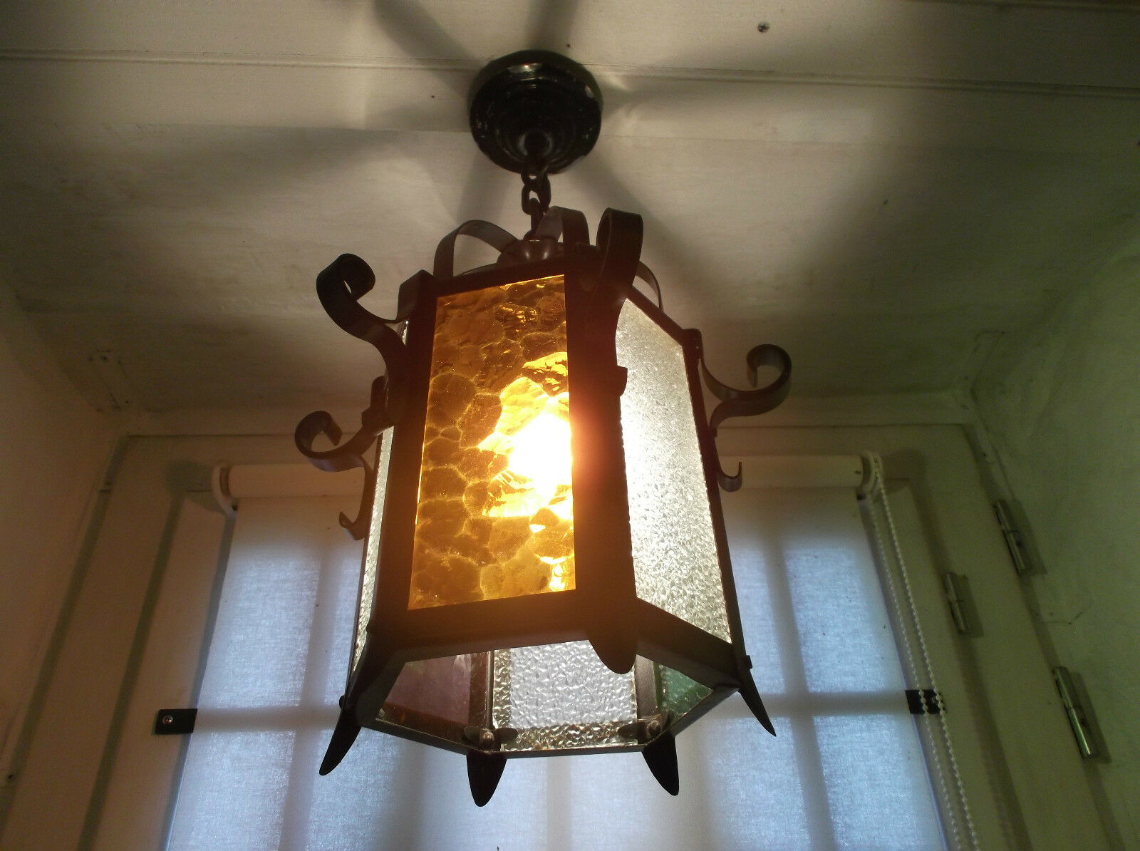 French stunning ceiling light lantern gorgeous glass panels charming vintage