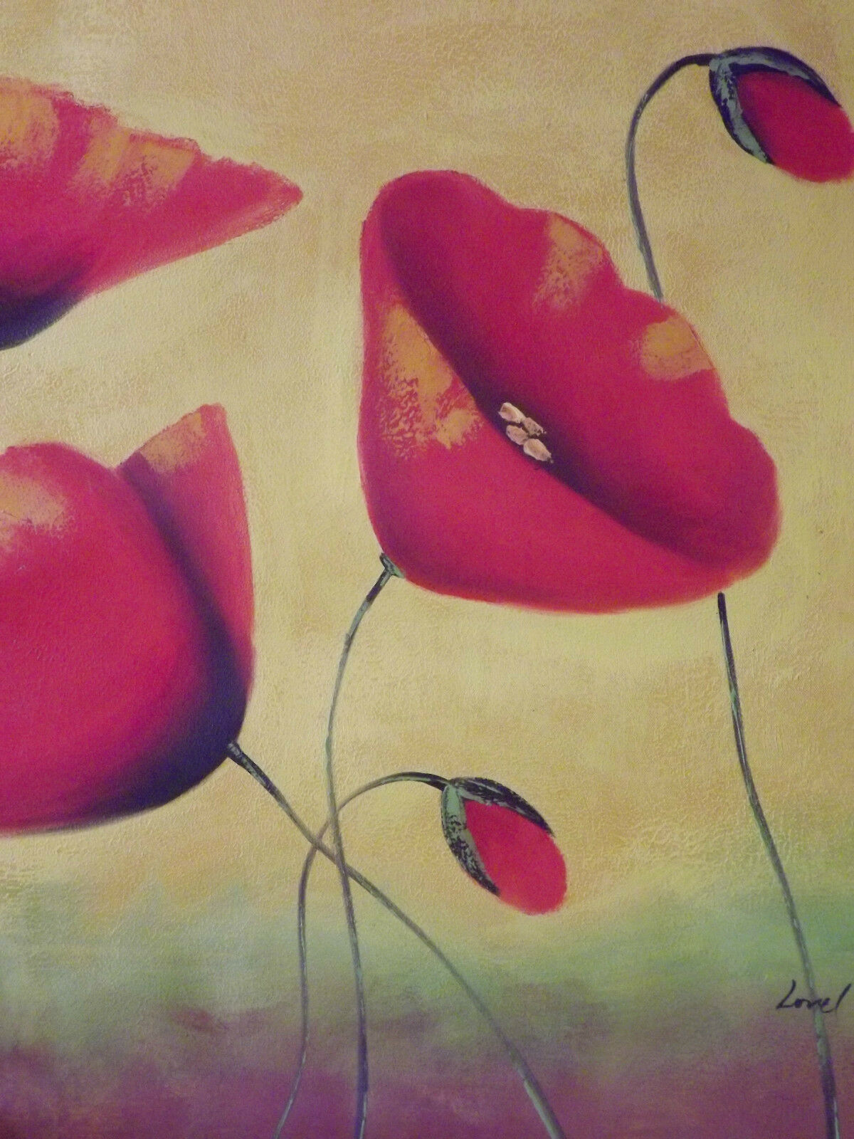 RED POPPIES ABSTRACT Flowers Large Oil Painting Canvas Original ...