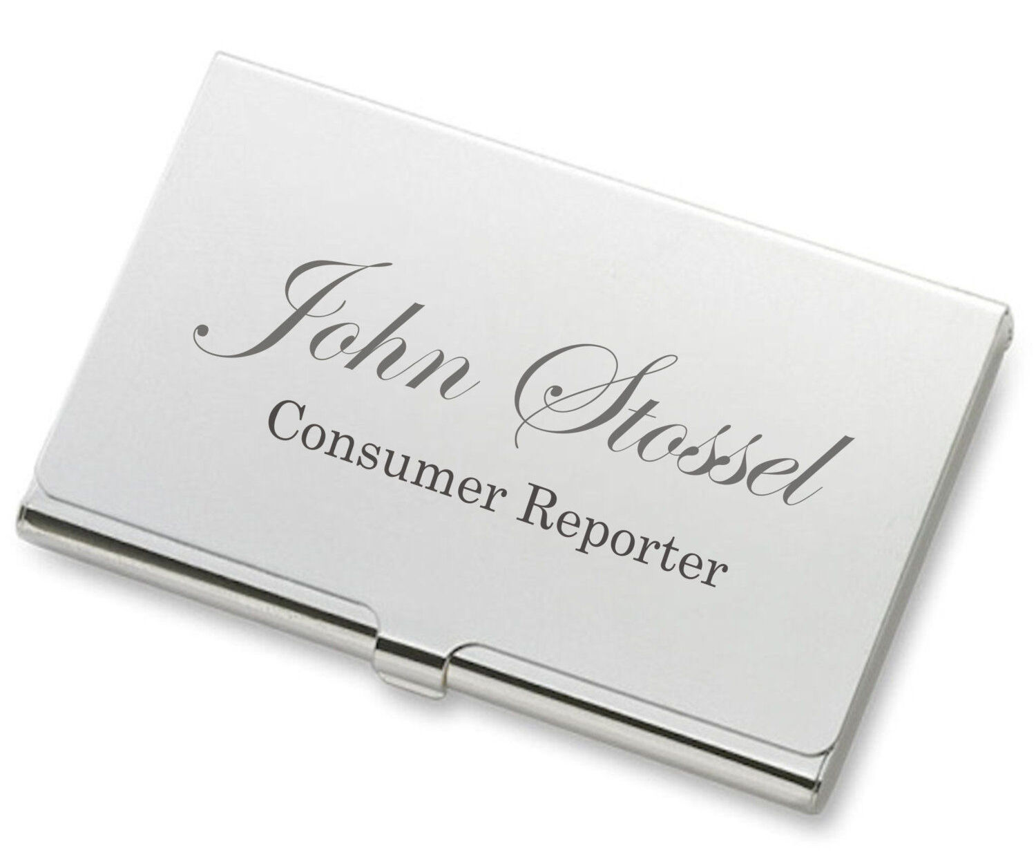personalized high polished shiny silver business card holder custom engraved - Silver Business Card Holder