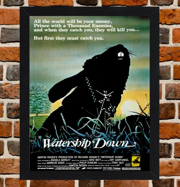 Framed Watership Down Film Movie Poster A4 A3 Size In Black