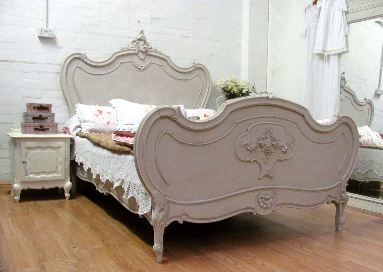 Stunning Antique French Double Rococo Crested Bed - C1900