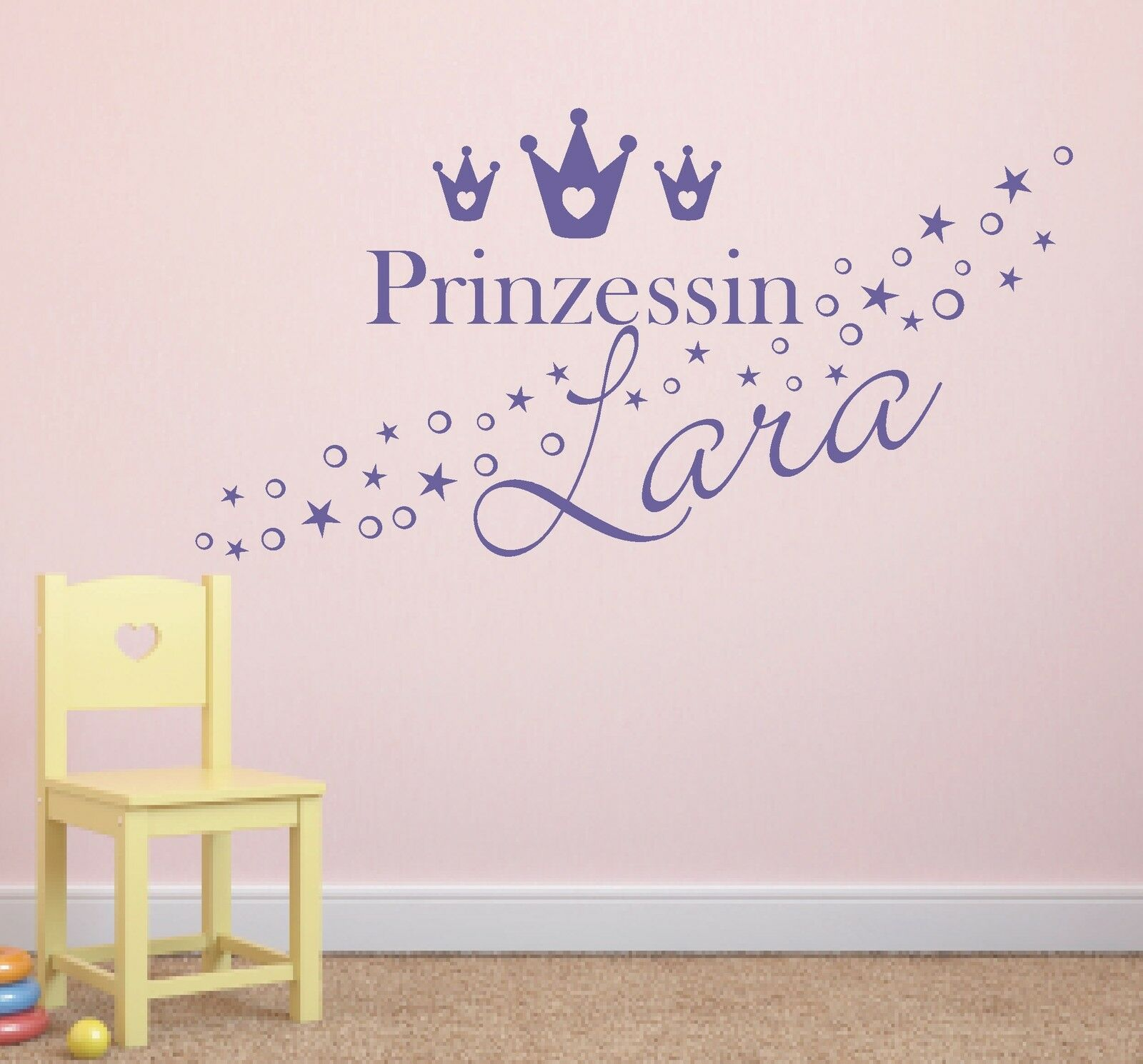 wandtattoo prinzessin name sterne punkte kinderzimmer 2 farbig chf picclick ch. Black Bedroom Furniture Sets. Home Design Ideas