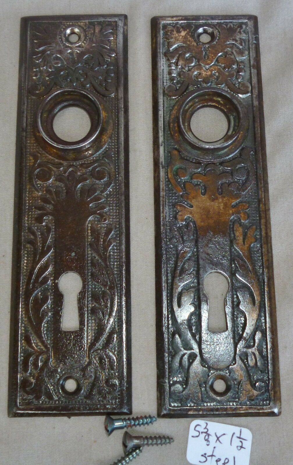 "Door knob back plates (pr) Eastlake OLD PATINA Stamped Steel 5 3/8"" x 1 1/2"" #1"