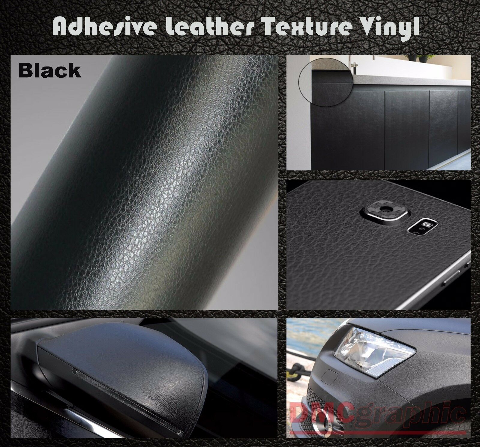 30x152cm black leather texture adhesive vinyl wrap film sticker cars furniture picclick uk. Black Bedroom Furniture Sets. Home Design Ideas