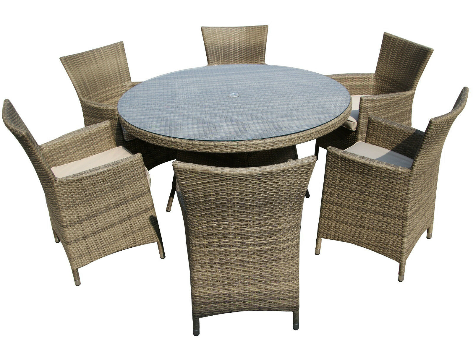 Patio Dining Rattan Outdoor Furniture Round Set Mix Brown Nature 1 Of 3free Shipping See More