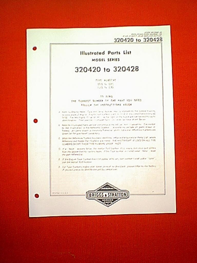 Briggs Stratton Horizontal Engine Model Series 320420 To 320428 And Parts Diagram Manual 1 Of 1only Available