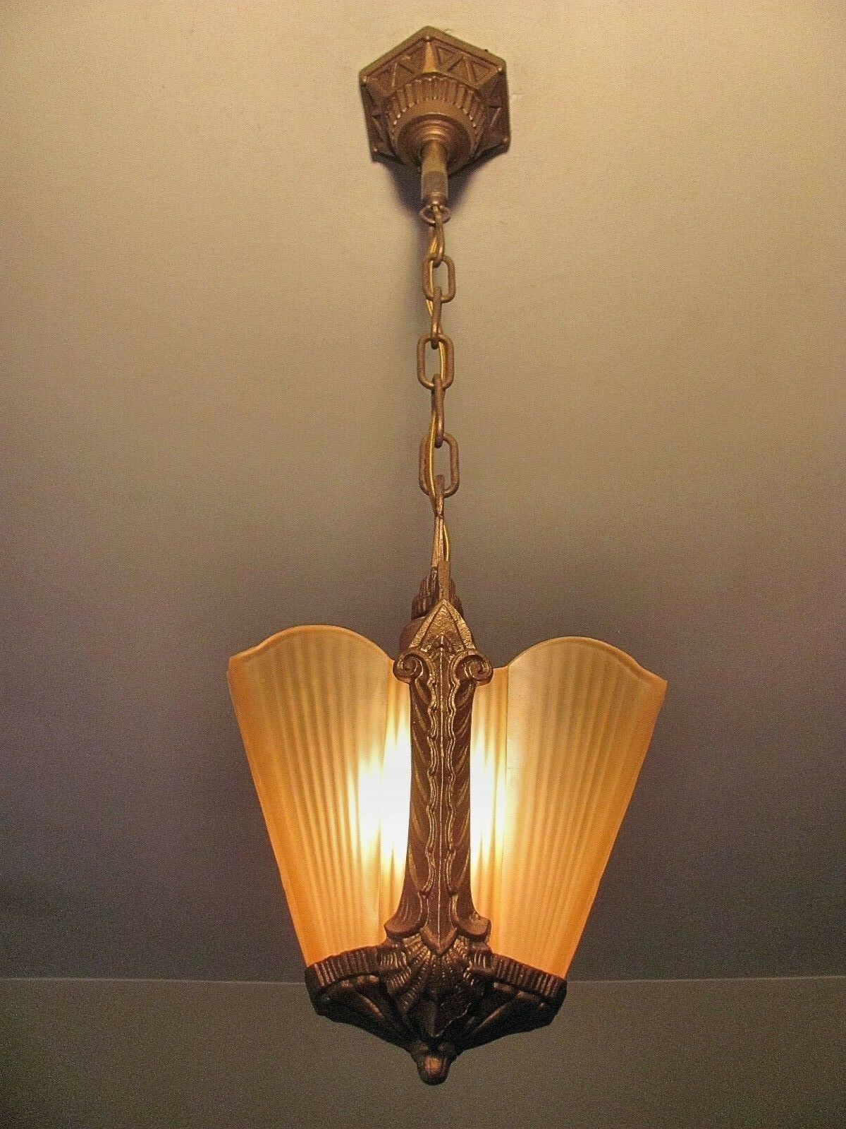 Elegant Antique Slip Shade Light Fixture - Restored and Ready to Install!