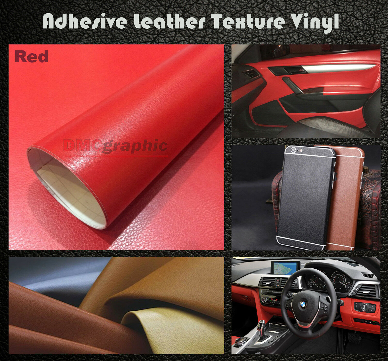 50x152cm red leather texture adhesive vinyl wrap film sticker for cars furniture. Black Bedroom Furniture Sets. Home Design Ideas