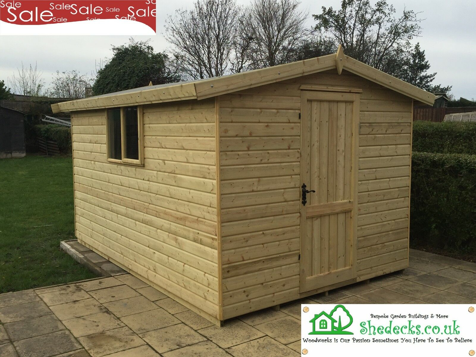 8x6 apex wooden garden shed tanalised 16mm t g heavy duty for Garden shed 8x6