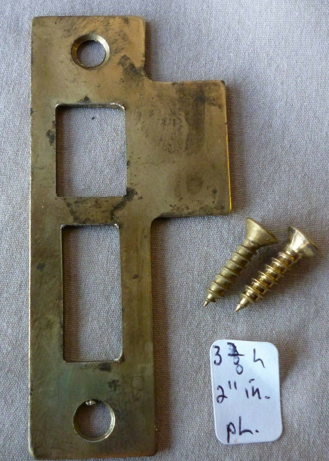 "Mortise bolt lock/latch strike plate BRASS PLATED 3 3/8"" long #3"
