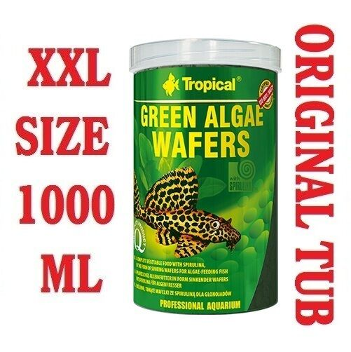 GREEN ALGAE WAFERS 100% Vegetable Sinking Wafers with Spirulina - 1000ml/450g