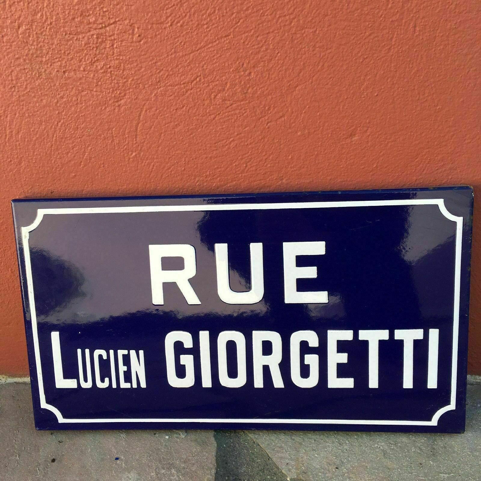 Old French Street Enameled Sign Plaque - vintage giorgetti 3