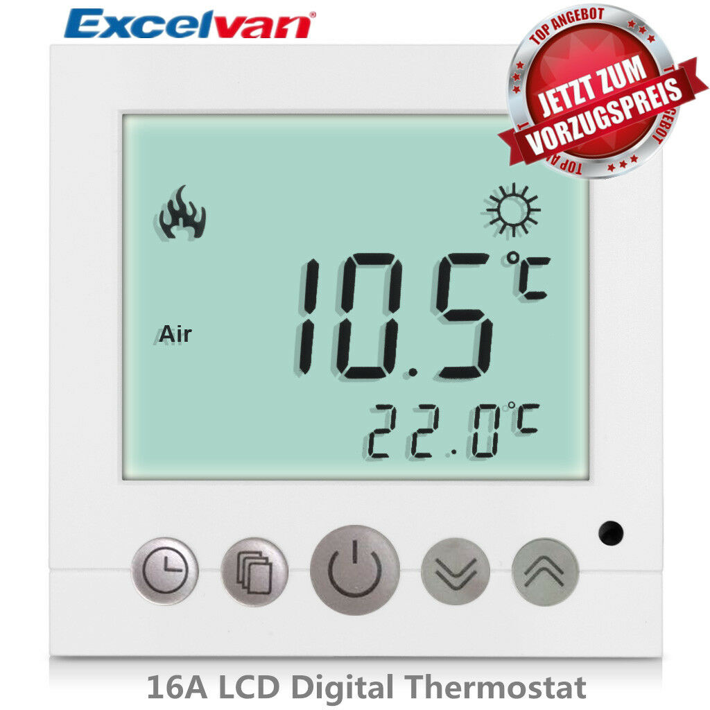 lcd digital thermostat programmierbar wand fu bodenheizung. Black Bedroom Furniture Sets. Home Design Ideas