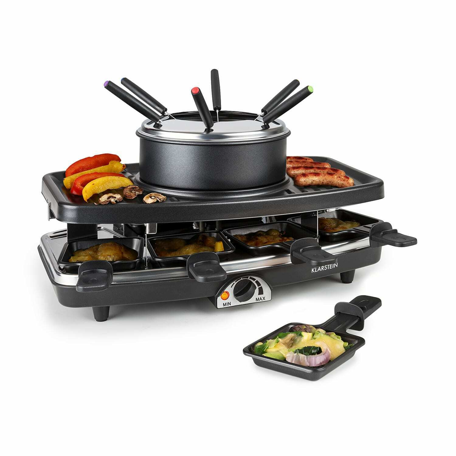 raclette grill anti adhesif appareil a fondue 8 poelons barbecue de table combo eur 74 99. Black Bedroom Furniture Sets. Home Design Ideas