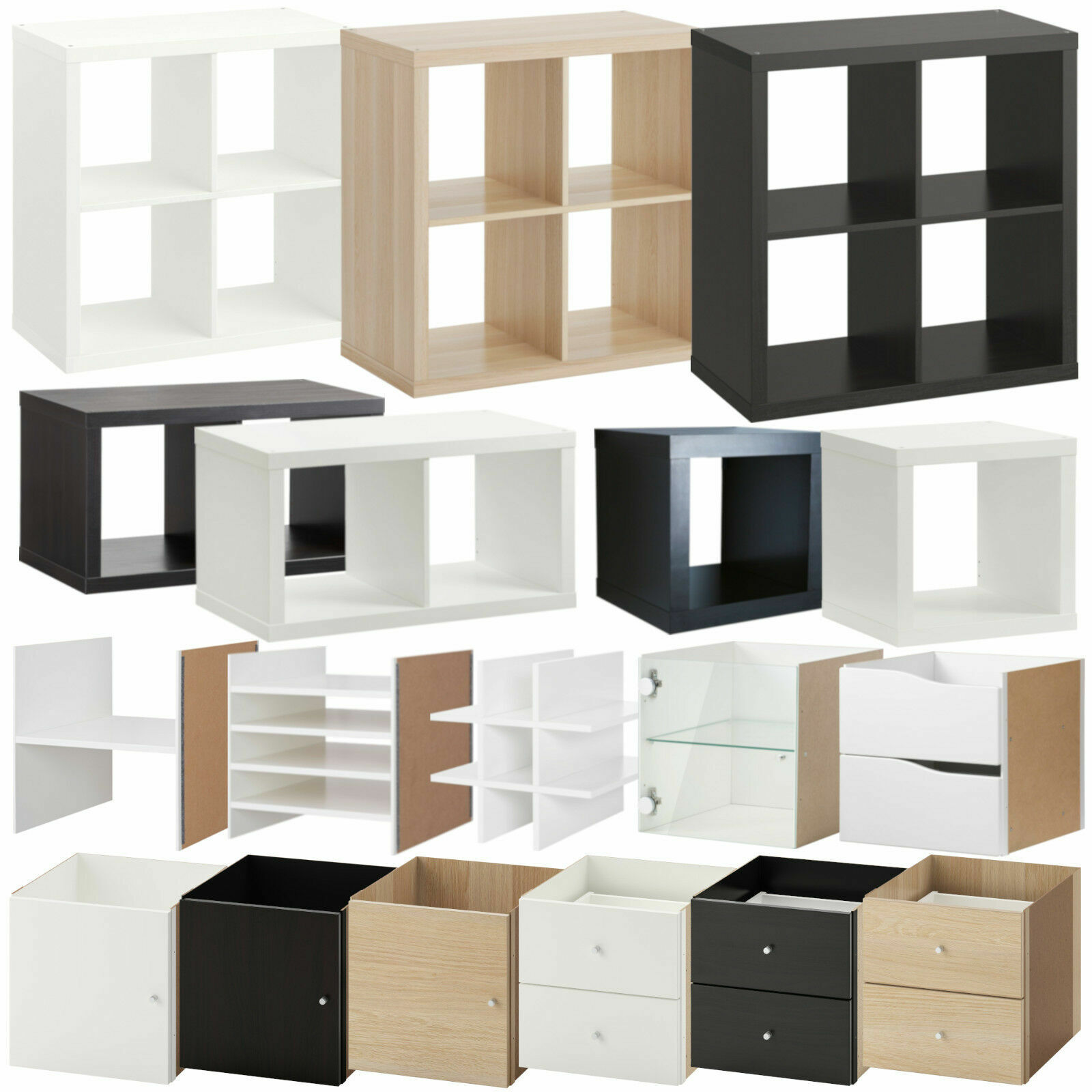 ikea kallax regal wei birke schwarzbraun 1 2 4 fach t r schublade ehem expedit eur 14 95. Black Bedroom Furniture Sets. Home Design Ideas