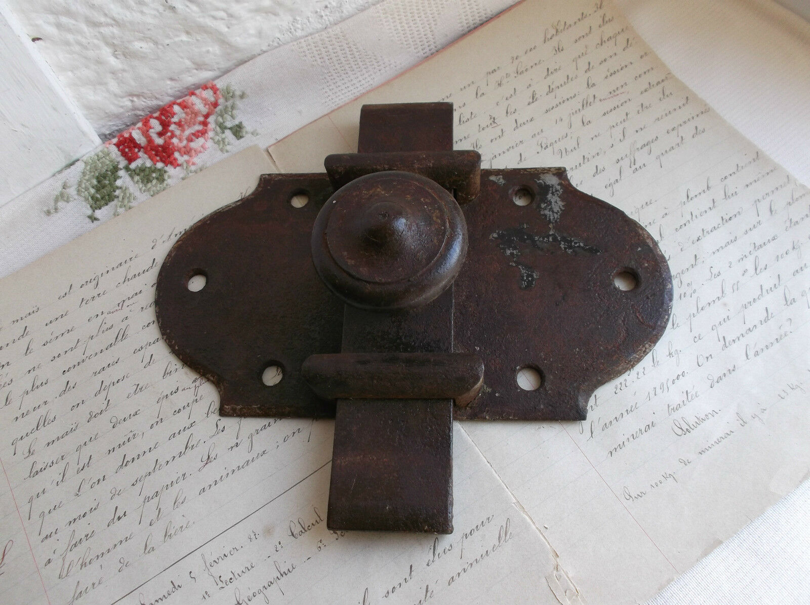 French 19th century antique slide latch door lock iron country farmhouse