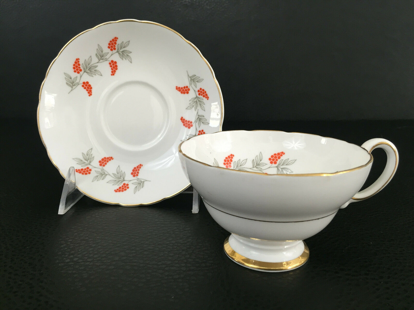 crown staffordshire fine bone china cup saucer england 1930 39 s orange flowers. Black Bedroom Furniture Sets. Home Design Ideas