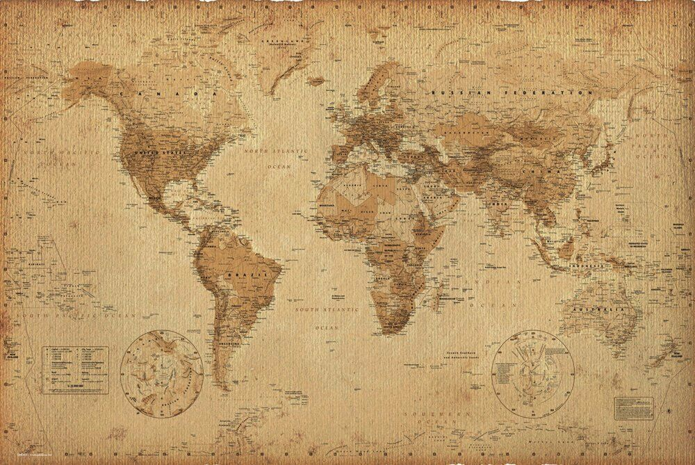 WORLD MAP POSTER Earth Globe Antique Vintage Print Wall Art Large EUR 11 52