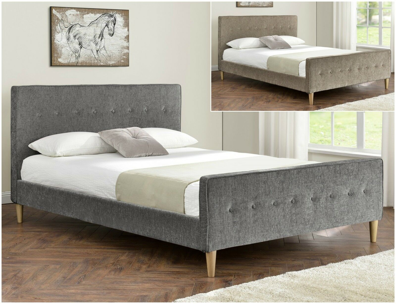 Chenille Fabric Upholstered Bed Frame Double King Size