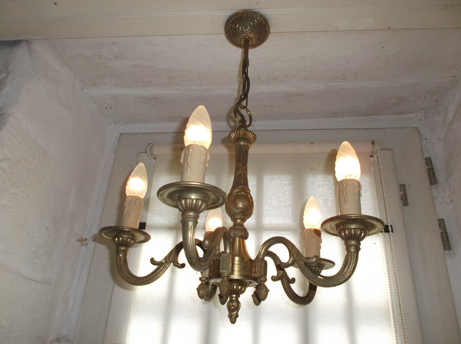 French chandelier 5 lights ornate patina bronze beautifully detailed vintage