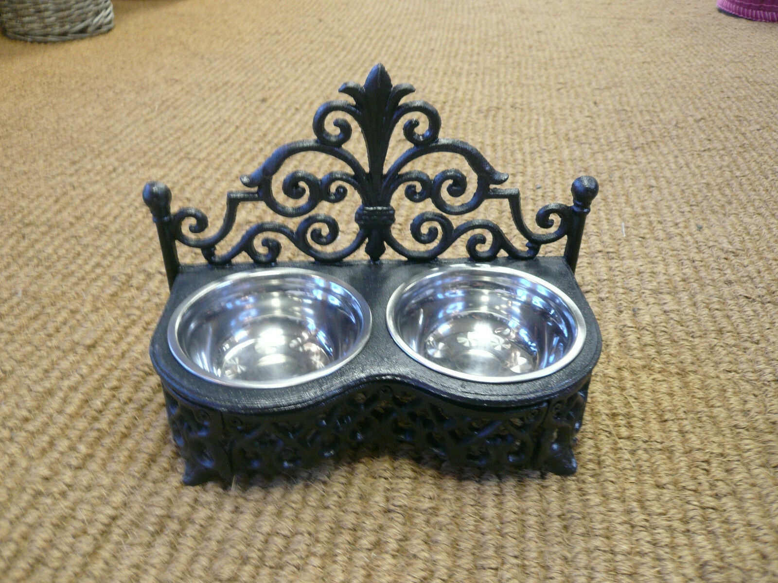 Cast iron Dog bowls / Cat bowl holder ,Stainless steel dishes , Posh pet bowls