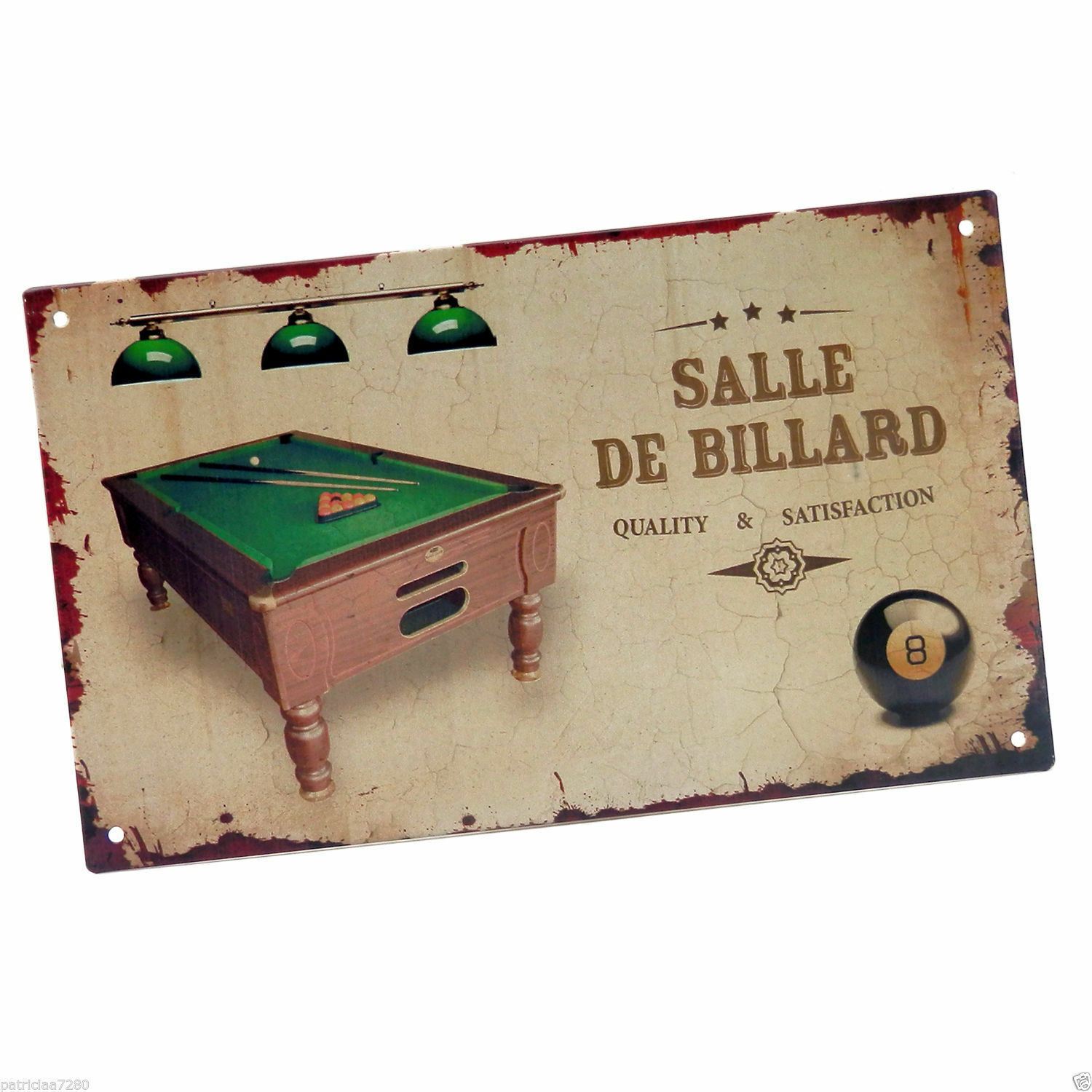 plaque de porte salle de billard en metal decoration vintage retro class deco eur 8 90. Black Bedroom Furniture Sets. Home Design Ideas