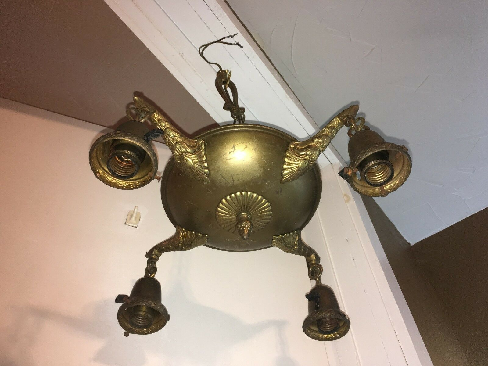 Antique Art Nouveau Brass Chandelier 4 Ceiling Lighting Fixture Ornate Pan VTG