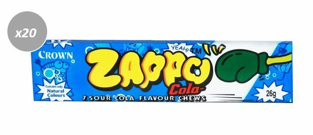 20 x 26g PACKETS OF ZAPPOS -  7 SOUR COLA FLAVOURED CHEWS
