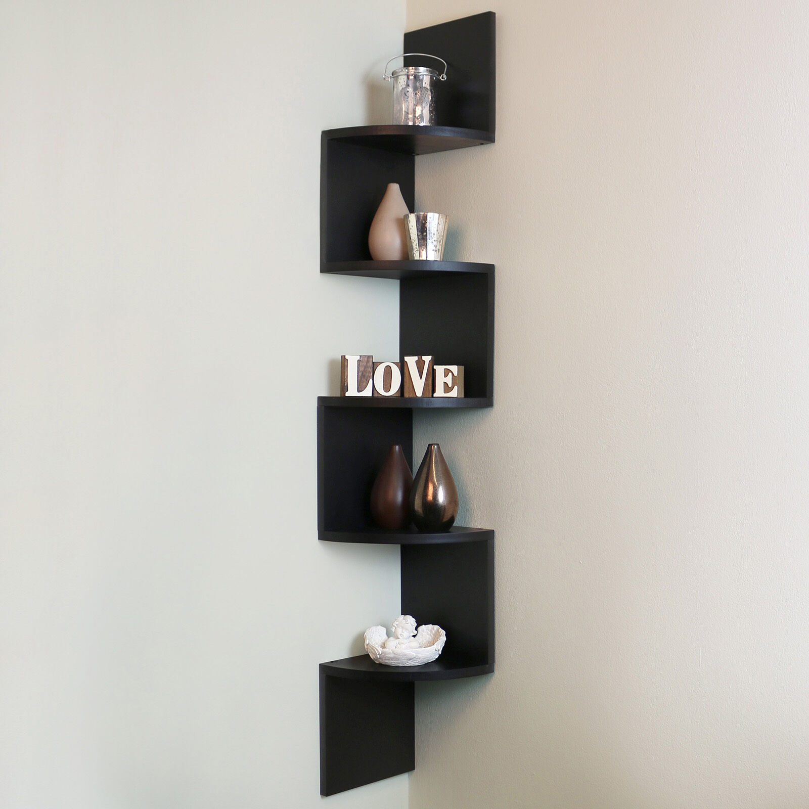 5 tier black wall mounted zigzag corner floating shelf Wall mounted bookcase shelves