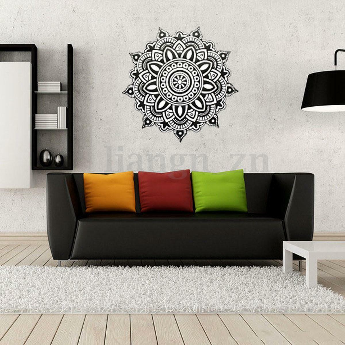 muraux sticker mural mandala fleur amovible d cor autocollant mur chambre salon eur 5 30. Black Bedroom Furniture Sets. Home Design Ideas
