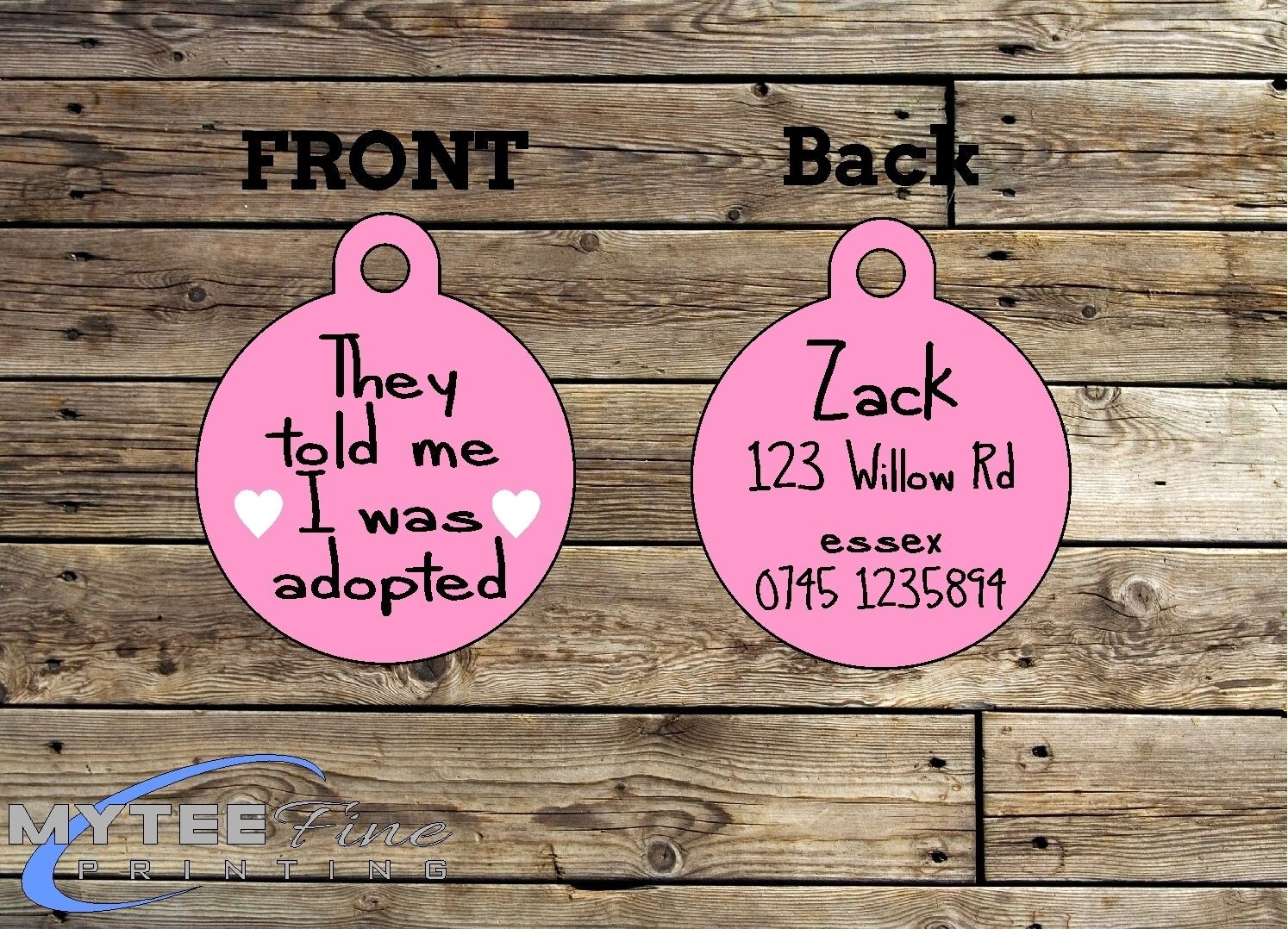 Funny Pet Tags Dog ID They Told Me I Was Adopted Personalised Pet Charm tag ID